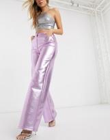 Asos Design DESIGN metallic PU wide leg trouser