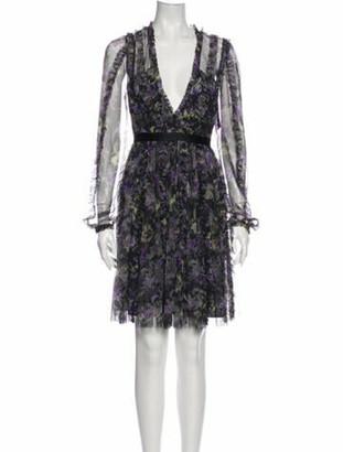 Needle & Thread Floral Print Mini Dress w/ Tags Black