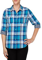 Allison Daley Petites Roll-Tab Sleeve Button Front Plaid Shirt
