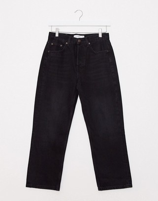 Topshop Editor straight leg jeans in black