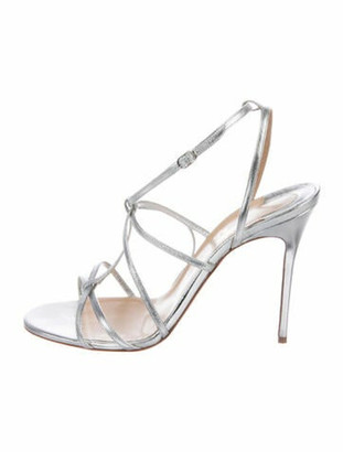 Christian Louboutin Yopupiyou 100 Leather T-Strap Sandals Silver