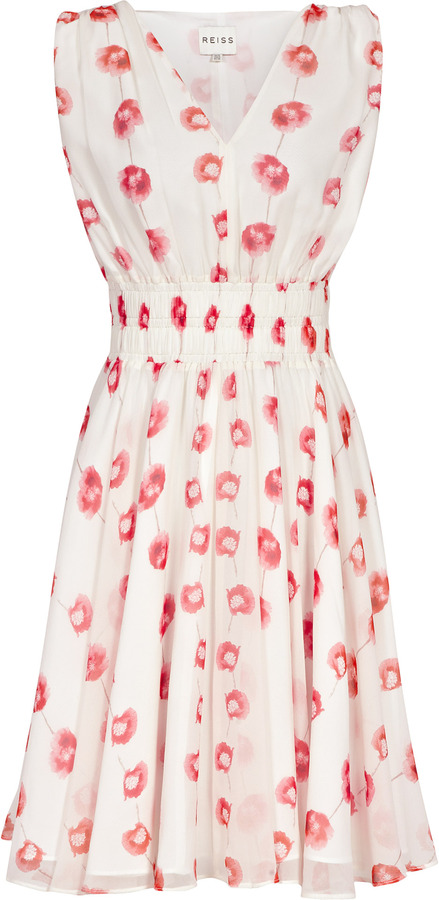 Reiss Lunata Poppy PRINTED FIT AND FLARE DRESS