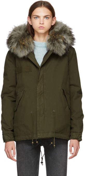 Mr & Mrs Italy SSENSE Exclusive Green and Grey Canvas Mini Length Fur-Lined Parka