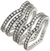 Freida Rothman Rhodium Plated Sterling Silver CZ Contemporary Deco Stacking Rings - Set of 5 - Size 9