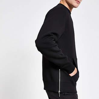 River Island Black zip side regular fit sweatshirt