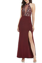 Sequin Hearts Choker-Neck Lace Bodice Long Dress