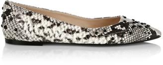 Tod's Studded Python-Embossed Leather Ballet Flats