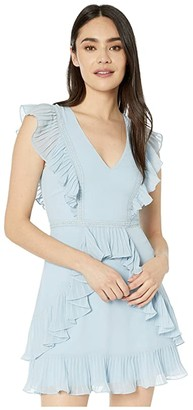 BCBGMAXAZRIA Ruffle Pleat Cocktail Dress (Light Crystal Blue) Women's Dress