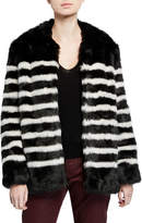 Frame Jerry Striped Faux-Fur Coat