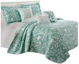 Serenta Birdsong 6-Piece Bed Spread Set, Teal/Turquoise, Queen