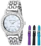 Anne Klein Women's Silver-Tone Swarovski-Accented Bracelet Watch with Three Additional Bands