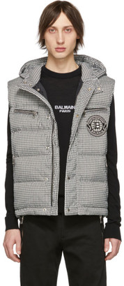 Balmain Black and White Down Houndstooth Vest