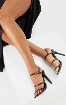 PrettyLittleThing Black Wide Fit Triple Strap Slingback Barely There Sandal