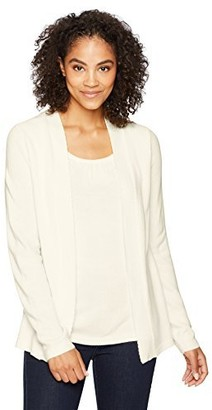Sag Harbor Women's Long Sleeve Scallop Edge 2fer