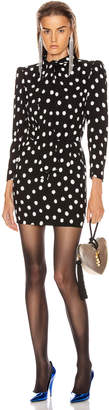 Saint Laurent Long Sleeve Polka Dots Mini Dress in Black & White | FWRD