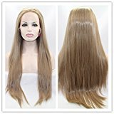 SiYi Brown Lace Front Straight Wig Long Blonde Synthetic Heat Resistant Cosplay Halloween Wigs for Women