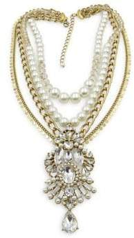 Badgley Mischka Pearl Party Rhinestone Multi-Row Necklace