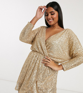 Club L London Plus sequin plunge neck long sleeve mini dress in gold