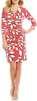 Adrianna Papell V-Neck 3/4 Sleeve Faux-Wrap Printed Jersey Dress