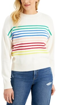 Style&Co. Style & Co Petite Boxy Striped Crewneck Sweater, Created for Macy's
