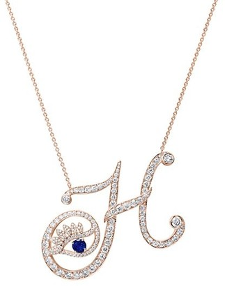 Tabayer Eye 18K Rose Gold, Sapphire & Diamond Honest Pendant Necklace