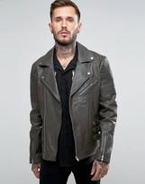 Asos Leather Biker With Belt Detail In Khaki
