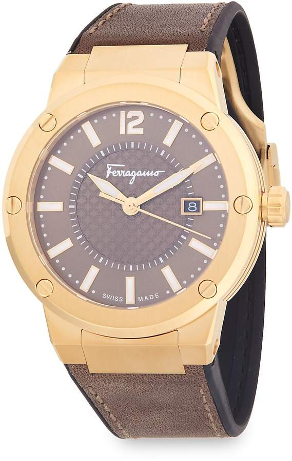 Salvatore Ferragamo Men's Classic Stainless Steel and Leather Strap Watch