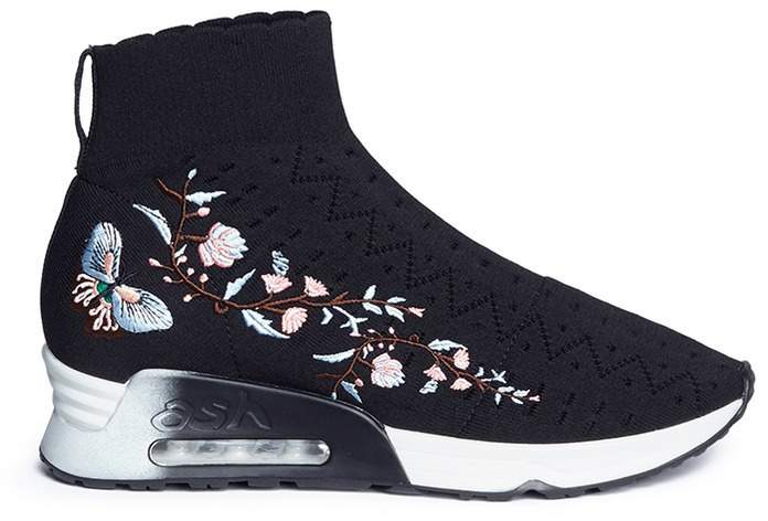 Ash 'Lotus' floral embroidered perforated knit sock sneakers