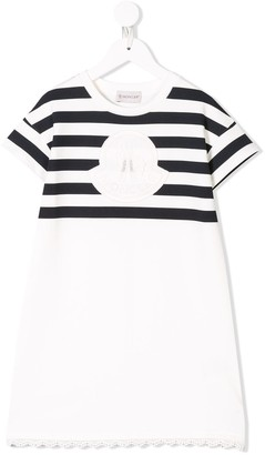 Moncler Enfant Striped Logo Patch Dress