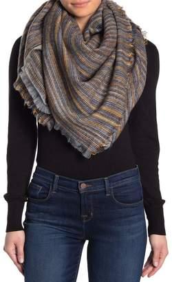 Melrose and Market Variegated Stripe Frayed Trim Blanket Wrap