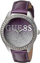 GUESS Women's U0823L4 Trendy Silver-Tone Watch with Purple Dial , Crystal-Accented Bezel and Genuine Leather Strap Buckle