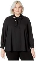 Karen Kane Plus Plus Size Sparkle Tie Neck Top (Black) Women's Clothing