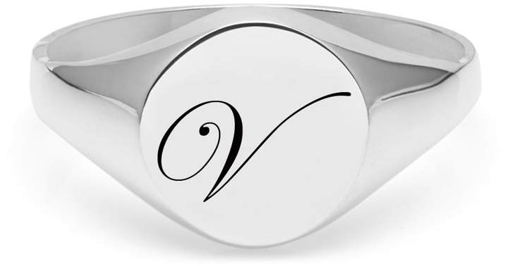 Myia Bonner Initial V Silver Edwardian Signet Ring