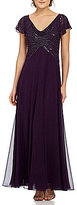 J Kara Ruffled Cap-Sleeve Beaded-Bodice Gown