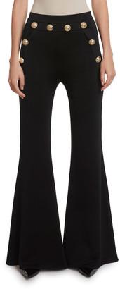 Balmain Button-Embellished Flare Pants