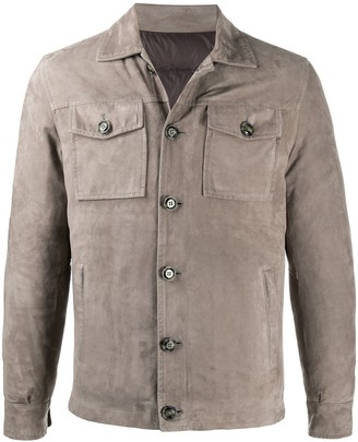 Barba Pointed Collar Leather Jacket