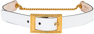Versace Leather Buckle Belt in White & Gold | FWRD
