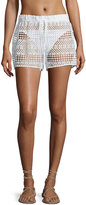 Milly Crocheted Drawstring Coverup Shorts, White