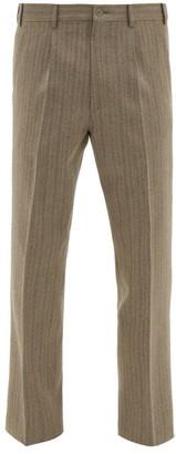 Gucci Cropped Herringbone Wool-blend Trousers - Brown