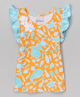Flap Happy Tangerine Tide Flutter Sleeve Top - Infant Toddler & Girls