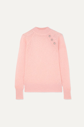 Balmain Button-embellished Ribbed Mohair-blend Sweater - Pink