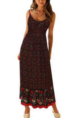 Zilcremo Women Bohemian Floral Dress V Neck Spaghetti Strap Cami Summer Maxi Dresses Black S