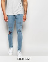Reclaimed Vintage Super Skinny Jeans With Extreme Distressing - Blue