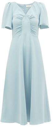 Goat Rosemary Gathered-bodice Silk Midi Dress - Womens - Light Blue