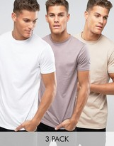 Asos 3 Pack Longline T-Shirt In White/Pink/Beige SAVE