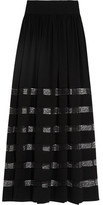 Michael Kors Lace-Paneled Silk-Georgette Maxi Skirt