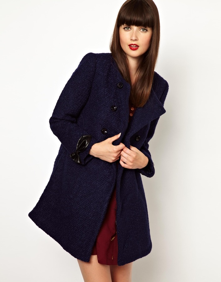 Big Chill Nishe Double Breasted Coat In Boucle - Blue