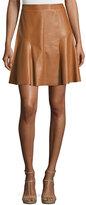 Rebecca Taylor Faux-Leather A-Line Skirt, Cognac