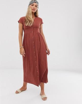 Vero Moda button front textured cotton maxi dress-Brown