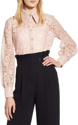 Halogen x Atlantic-Pacific Collared Lace Top
